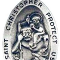 """St. Christopher Charms, 24""""stainless Steel Necklace Chain"""