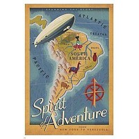 SPIRIT OF ADVENTURE travel poster 24X36 MAP blimp EXITING South America