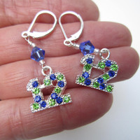 Seattle Seahawks Number 12 Earrings,Seattle Seahawks Earrings,12th Man,12th Woman,Seahawks Women,Seahawks Jewelry,Seahawks Bling,Seahawk Fan