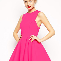 Fuchsia Sleeveless Skater Dress