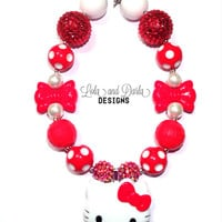 Red Polka Dot Hello Kitty necklace chunky necklace bubblegum necklace boutique necklace birthday necklace toddler necklace