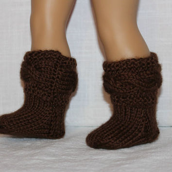 hand knit socks, brown cable socks, 18 inch doll clothes, american girl, maplelea