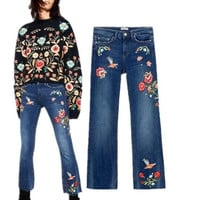 New Woman Fashion Flowers Birds Embroidered Blue Washed Denim Jeans Cropped Trousers With Frayed Hem Pants S198