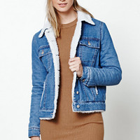 Honey Punch Faux Sherpa Denim Jacket at PacSun.com