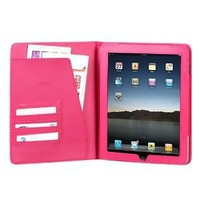 High Quality Hot Pink Leather Cover Protective Case Jacket Magnetic Closing Flap Credit Card ID Passport Slots for Apple iPAD i-Pad 3G, Wifi Model 16GB 32GB 64GB Tablet Slate
