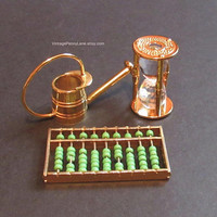 Vintage Brass  Miniatures, Metal Watering Can, Abacus, Crystal Hourglass Figurines
