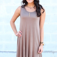 Basic Trapeze Tank Swing Dress {Mocha}