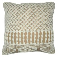 "Crocheted Pillow Beige 18""x18"" - Nate Berkus ™"