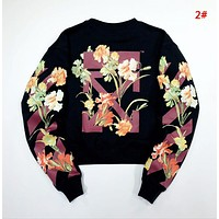 Off White New fashion letter leaf floral arrow print long sleeve top sweater 2#