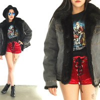 Vintage 90s DENIM Black Faux FUR Dark Wash Jacket Coat // Hipster Bohemian Gypsy // XS Extra Small / Small