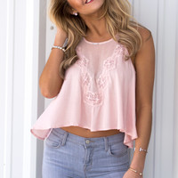 Out Among The Lace Top - Blush