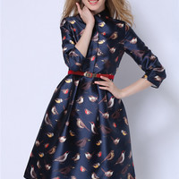 Autumn Birds Printing Women Dresses American and European top-end turn-down collar three quarter sleeve high waist a-line wedding dress