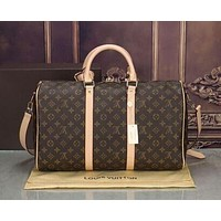 LV Louis Vuitton full-printed letters men and women large capacity duffel bag shoulder bag LV print