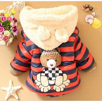On Sale Baby boys Bear Winter Coat,children outerwear, Kids cotton thick warm hoodies jacket boys clothing 3colors