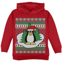 DCCKJY1 Penguin on Ice Ugly Christmas Sweater Toddler Hoodie