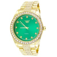 Mens Stainless Steel Back Green Dial Bling Techno Pave Watch