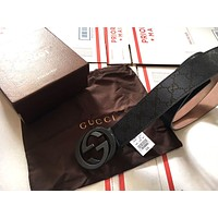 HOT!!! New Auth Gucci Belt Black Guccissima Double G Leather Belt Mens 95cm
