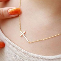 Fashion Golden Cross Chain Necklace from looback
