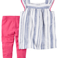 2-Piece Striped Tank & Capri Legging Set