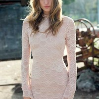 Nightcap Clothing Closed Back Victorian Lace Dress in Nude