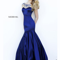 Beaded Illusion Sherri Hill Long Prom Gown 32224