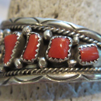 Vintage Native American Jewelry Cuff Bracelet Navajo Sterling Silver Coral Jewelry Signed SW