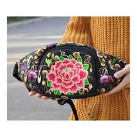 New Original Design Cosmetic Bag Woman's Bag High Volume Waist Bag    peony