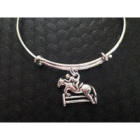 Equestrian Horse Silver Wire Expandable Bracelet Adjustable Bangle Horse and Rider Jockey Horse Race Gift