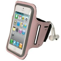 iGadgitz Pink Reflective Anti-Slip Neoprene Sports Gym Jogging Armband for New Apple iPhone 5, 5S, 5C Cell Phone 4G LTE