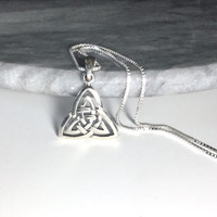 Double Triquetra Sterling Silver Triquetra Necklace Large Celtic Knot Pendant Trinity Knot Necklace Solid 925 Silver Long Necklace