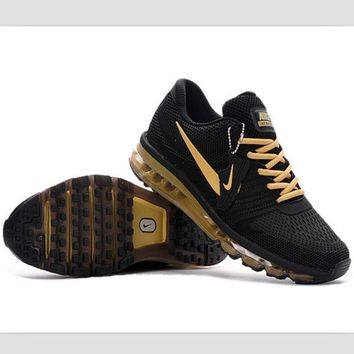 NIKE Fashion Men Casual Breathable Sport Running Sneakers Shoes Black Gold