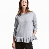 Fine-knit Sweater with Flounce - from H&M