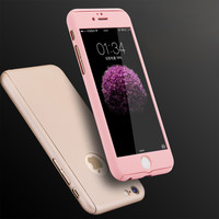 New hybrid Armor Full Cover Shockproof Hard Protective Case With Front Clear Tempered Glass Film For iPhone 6 Plus 6S Plus 5.5""
