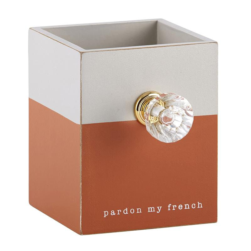 Image of Pardon My French Wooden Pen Holder with Diamond Style Drawer Pull