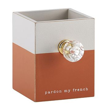 Pardon My French Wooden Pen Holder with Diamond Style Drawer Pull