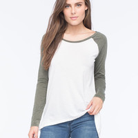Others Follow Hi Low Womens Raglan Tee Olive  In Sizes