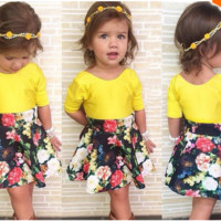 Girls 2 PC Mid Sleeve Top and Skirt