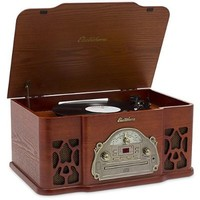 Electrohome Winston Vinyl Record Player 3-in-1 Classic Turntable Natural Wood Stereo System, AM/FM Radio, CD, and AUX Input for Smartphones, Tablets, and MP3 players (EANOS501)