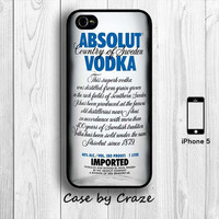 Absolut Vodka Bottle iPhone 5 Case Creative iPhone 5S Cover Wine Drinks iPhone 5 Back Cover --000038