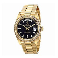 Rolex Oyster Perpetual Day-Date Black Dial Automatic Mens Yellow Gold President Watch 228348BKDP