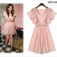 New Korean Women Chiffon Summer New Fashion Short Sleeve Mini Dress