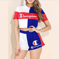 Champion Newest Women Casual Print Color Matching Shorts Sleeve Hoodie Top Shorts Set Two Piece Sportswear