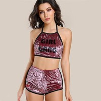 Halter Velvet 2 PieceGirl Gang Set