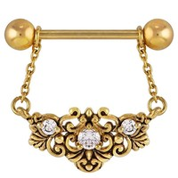 FreshTrends CZ Byzantine Gold Plated Dangle Nipple Ring