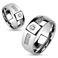 8mm Band CZ Inlay with Center Round CZ Stainless Steel Wedding Band Ring