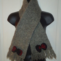 Gray Womens Short Thick Wool Winter Accessory Scarf with Fringe