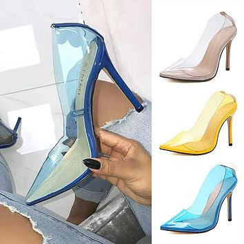 clearly glass heels shoes single shoes transparent pointed high heels yellow blue