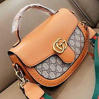 GUCCI Fashion New More Letter Leather Handbag Shoulder Bag Crossbody Bag Bucket Bag Saddle Bag Brown