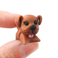 Handmade Puppy Dog Animal Shaped Fake Gauge Polymer Clay Stud Earring in Brown