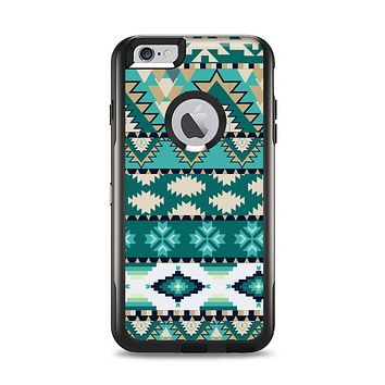 The Vector Teal & Green Aztec Pattern  Apple iPhone 6 Plus Otterbox Commuter Case Skin Set